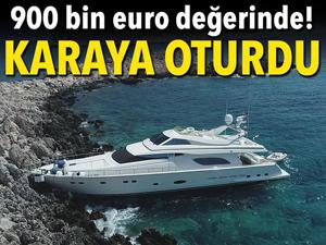 900 Bin euroluk lüks tekne Kaş'da kayalıklara oturdu
