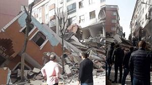 İstanbul Bahçelievler'de 7 katlı bir bina çöktü
