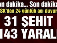 TSK: Zeytin Dalı operasyonunda 31 kahraman silah arkadaşımız şehit